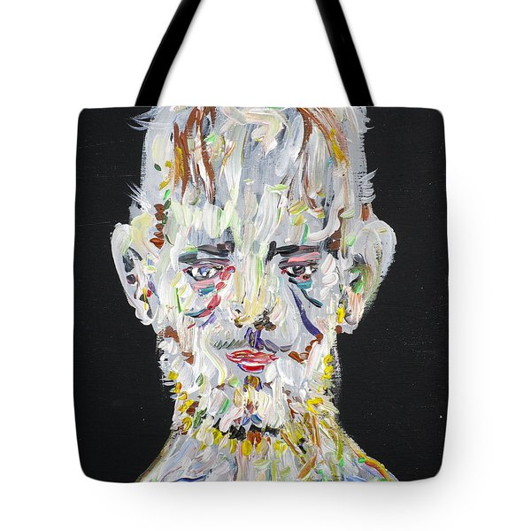 Tote Bag featuring the painting The Man Who Tried To Become A Mountain by Fabrizio Cassetta