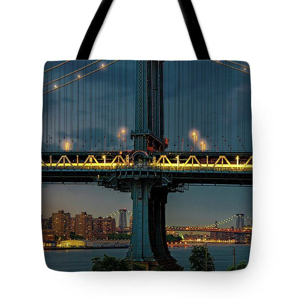 Tote Bag featuring the photograph The Manhattan Bridge During Blue Hour by Chris Lord