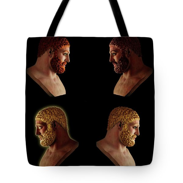 Tote Bag featuring the mixed media The Many Faces Of Hercules 2 by Shawn Dall