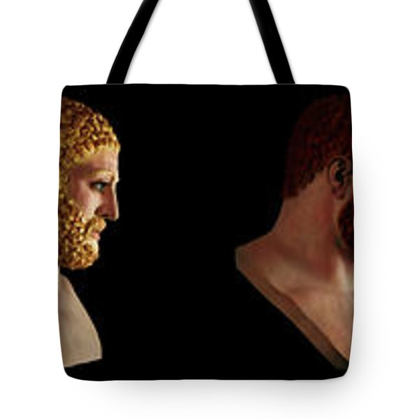 Tote Bag featuring the mixed media The Many Faces Of Hercules by Shawn Dall