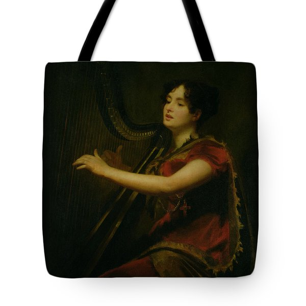 The Marchioness Of Northampton Playing A Harp Tote Bag