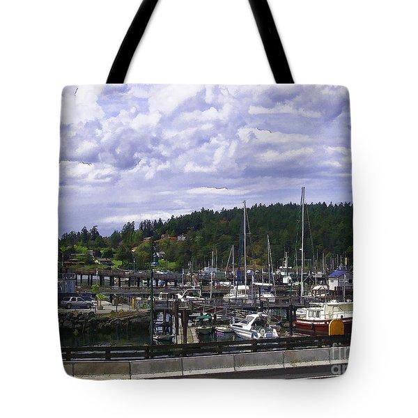 The Marina At Friday Harbor Tote Bag by Nancy Marie Ricketts