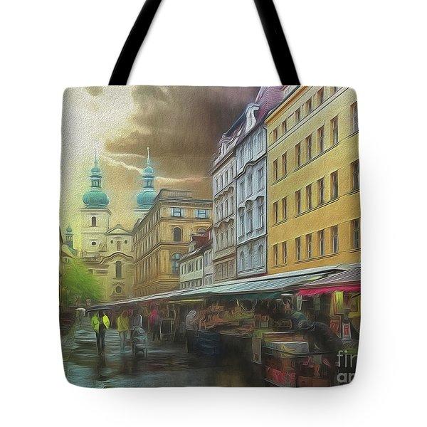 The Market In The Rain Tote Bag