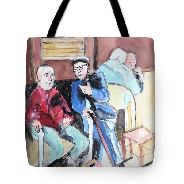 Tote Bag featuring the painting The Market Parliament by Esther Newman-Cohen
