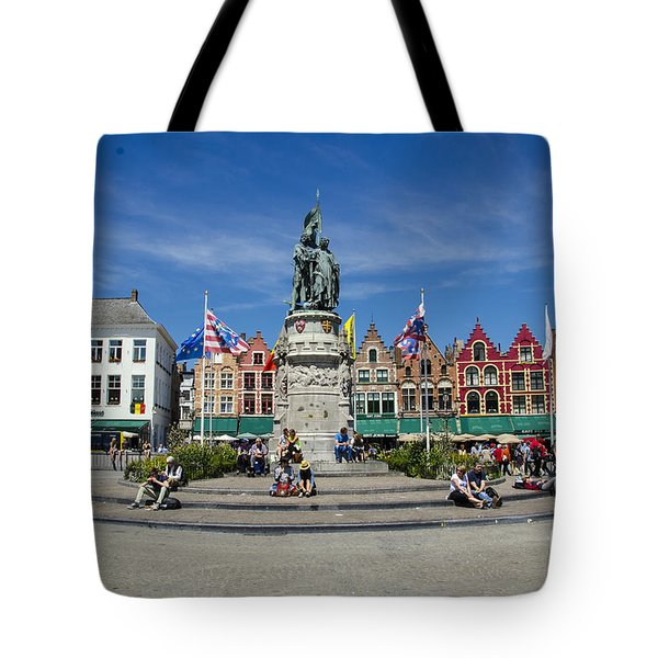 Tote Bag featuring the photograph The Markt Of Bruges by Pravine Chester