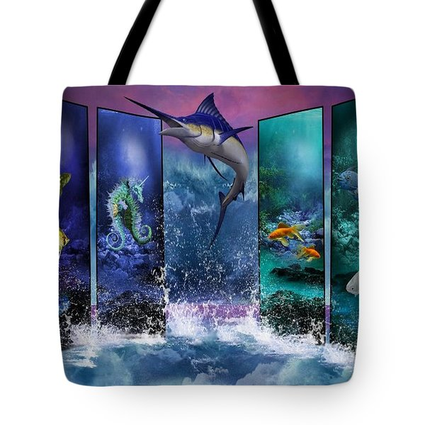 The Marlin And His Sea Friends  Tote Bag by Ali Oppy