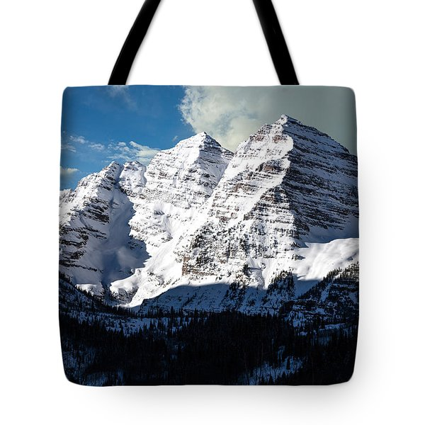 These Twin Peaks Outside Aspen Are Called The Maroon Bells  Tote Bag