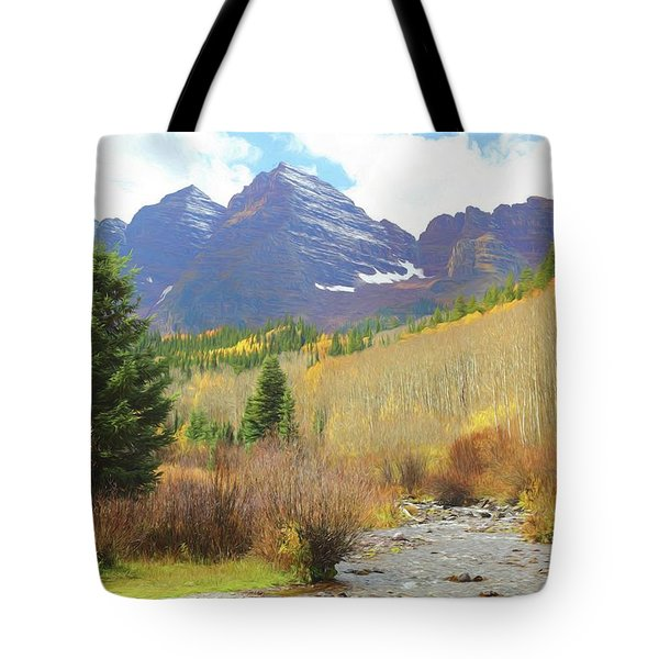 Tote Bag featuring the photograph The Maroon Bells Reimagined 3 by Eric Glaser