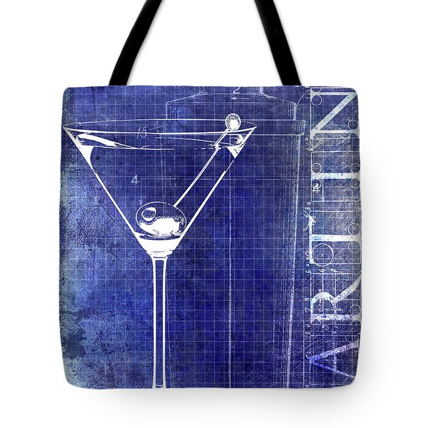 The Martini Patent Blue Tote Bag by Jon Neidert