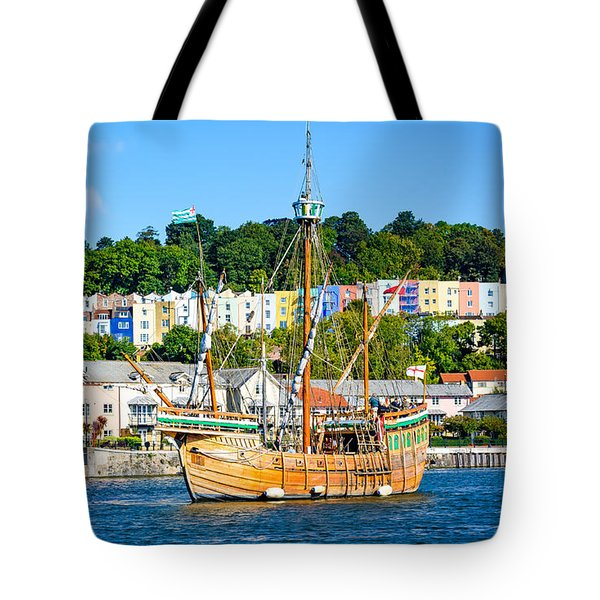 Tote Bag featuring the photograph The Matthew In Bristol Harbour by Colin Rayner