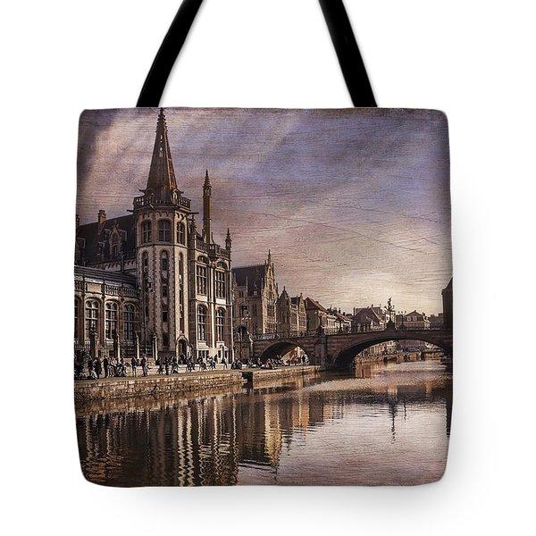 The Medieval Old Town Of Ghent  Tote Bag by Carol Japp