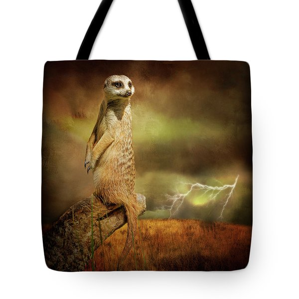 The Meerkat And The Storm Tote Bag