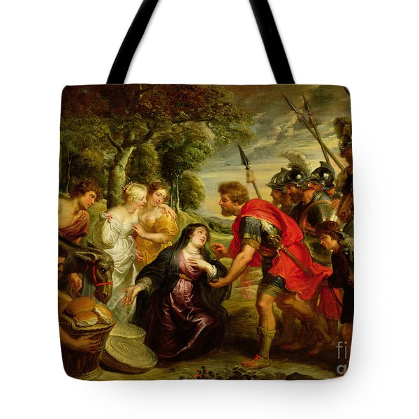 The Meeting Of David And Abigail Tote Bag by Peter Paul Rubens