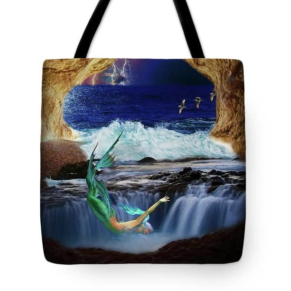 Tote Bag featuring the digital art The Mermaids Secret Lair by John Haldane