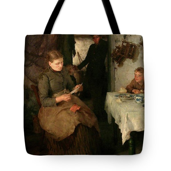 Tote Bag featuring the painting The Message by Henry Scott Tuke