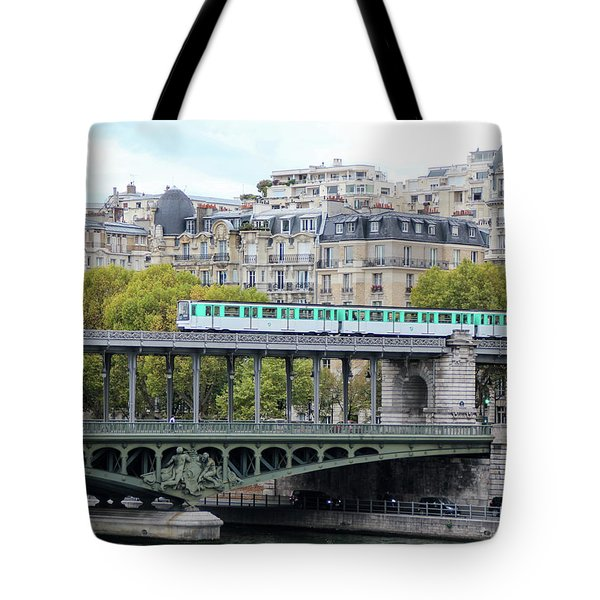 Tote Bag featuring the photograph The Metro On The Bridge by Yoel Koskas