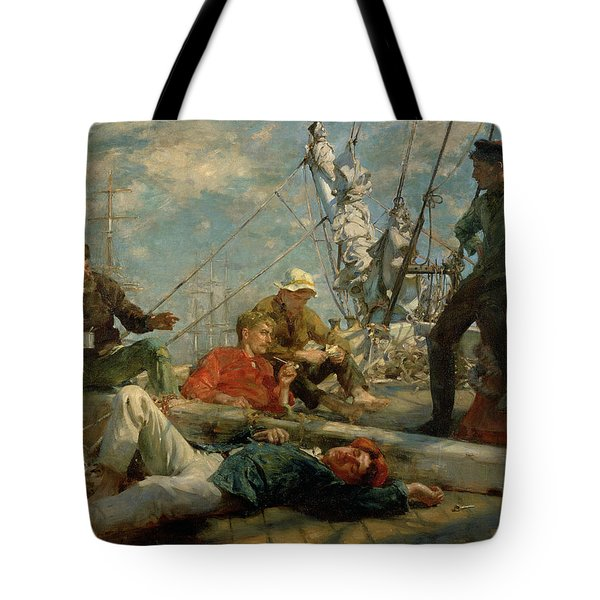 The Midday Rest Sailors Yarning Tote Bag by Henry Scott Tuke