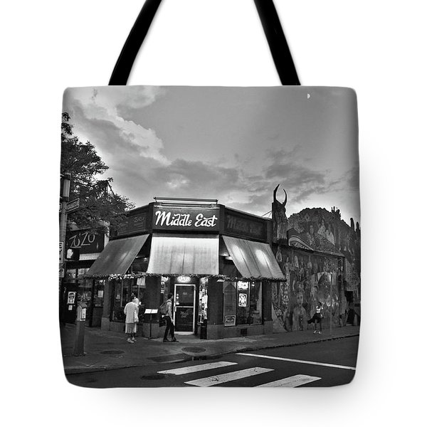 The Middle East In Central Square Cambridge Ma Black And White Tote Bag