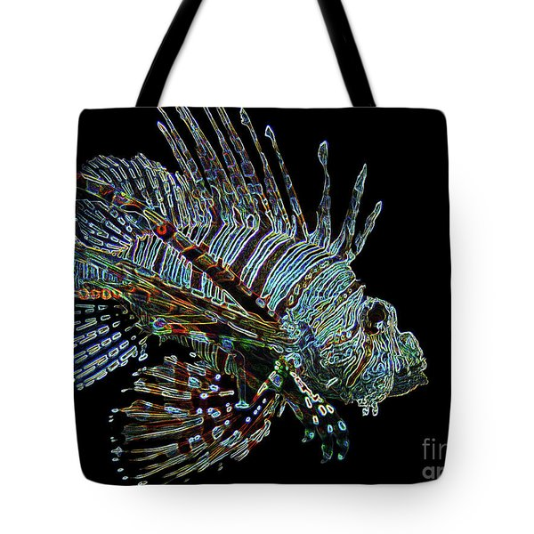 The Mighty Lion Fish Tote Bag by Carol F Austin