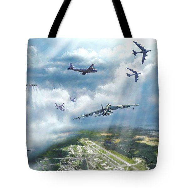 Tote Bag featuring the painting The Mighty Loring A F B by Dave Luebbert