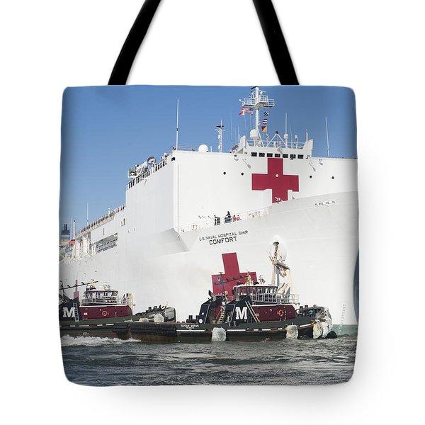 The Military Sealift Command Hospital Ship Usns Comfort Tote Bag