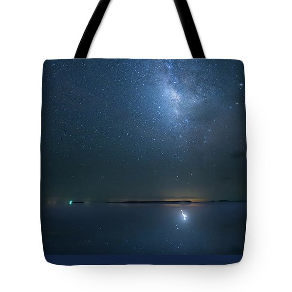 Tote Bag featuring the photograph The Milky Way And The Egret by Mark Andrew Thomas