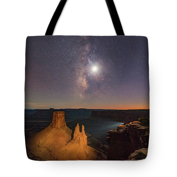 The Milky Way And The Moon From Marlboro Point Tote Bag