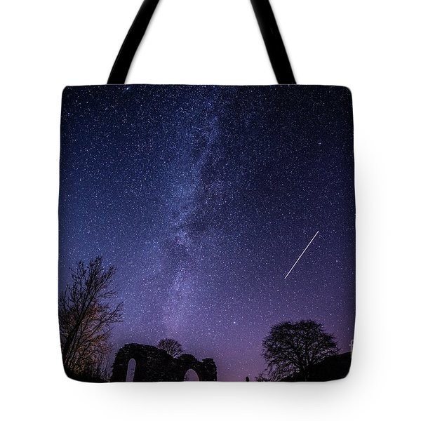 The Milky Way Over Strata Florida Abbey, Ceredigion Wales Uk Tote Bag