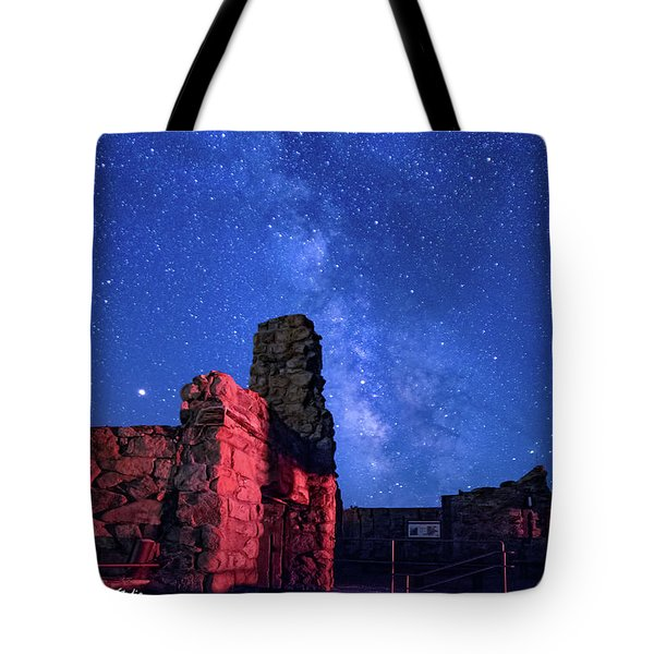 The Milky Way Over The Crest House Tote Bag