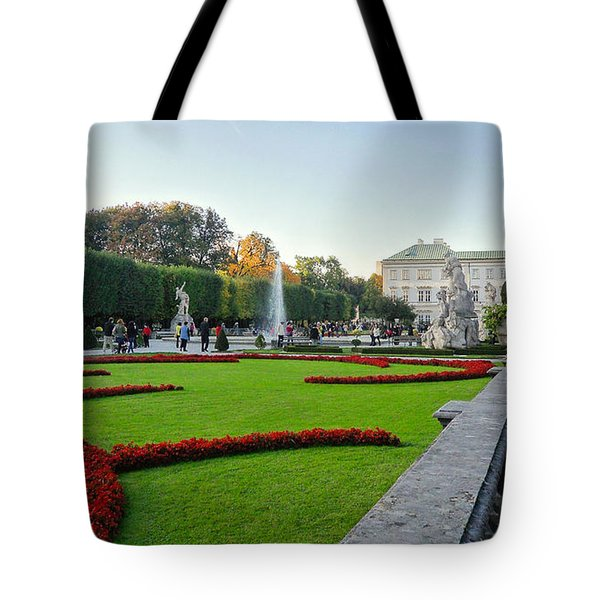 Tote Bag featuring the photograph The Mirabell Palace In Salzburg by Silvia Bruno