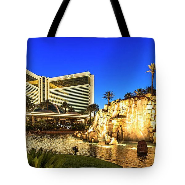 The Mirage Casino And Volcano At Dusk Tote Bag by Aloha Art