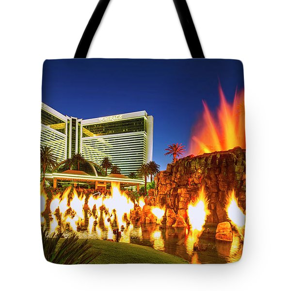 The Mirage Casino And Volcano Eruption At Dusk Tote Bag
