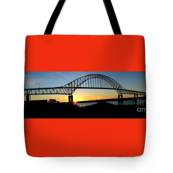 The Miramichi Bridge Sunset  Tote Bag