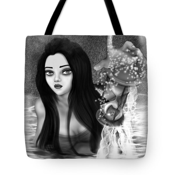 The Missing Key - Black And White Fantasy Art Tote Bag