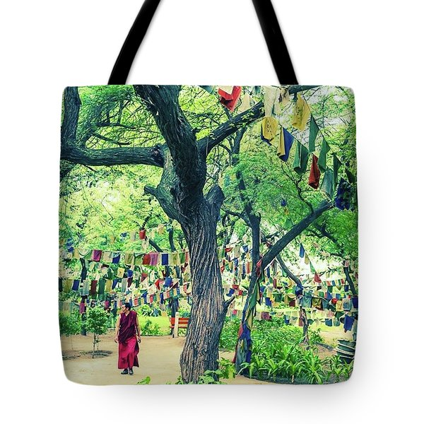 The Monk Among The Prayer Flags Tote Bag