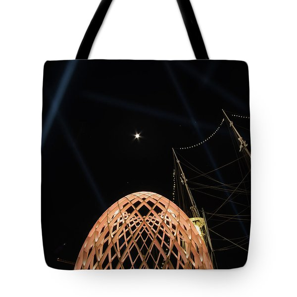Tote Bag featuring the photograph The Moon Over The Egg by Mark Dodd