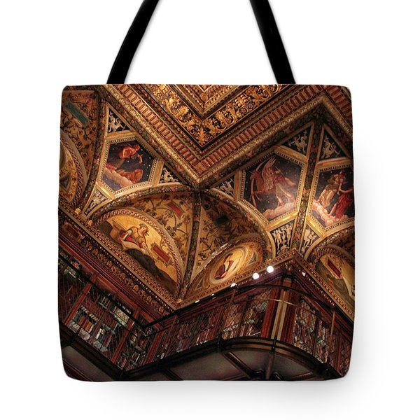 Tote Bag featuring the photograph The Morgan Library Ceiling by Jessica Jenney