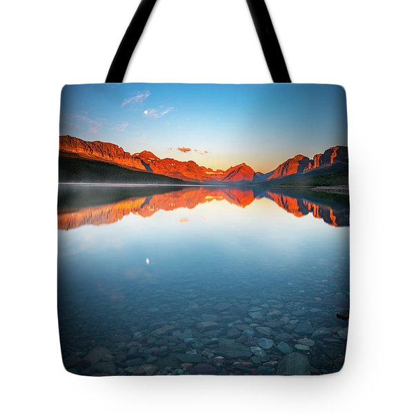 The Morning Tranquility With Full Moon Tote Bag