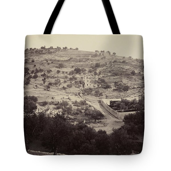 Tote Bag featuring the pyrography The Mount Of Olives And Garden Of Gethsemane by Artistic Panda