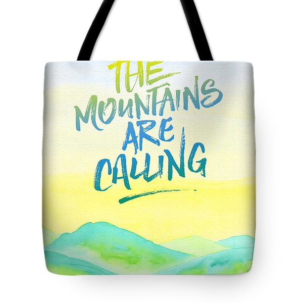 The Mountains Are Calling Yellow Blue Sky Watercolor Painting Tote Bag