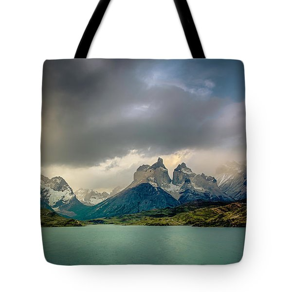 Tote Bag featuring the photograph The Mountains On The Lake by Andrew Matwijec