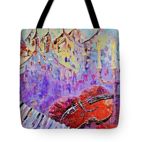 Tote Bag featuring the painting The Music Of The Silence by AmaS Art