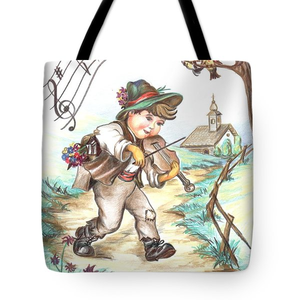 Tote Bag featuring the drawing The Musician by Sorin Apostolescu
