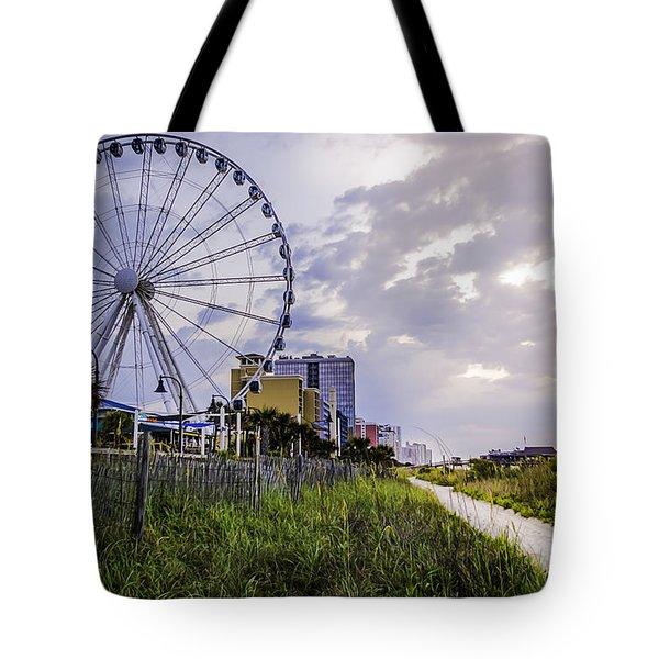 The Myrtle Beach, South Carolina Skywheel At Sunrise. Tote Bag