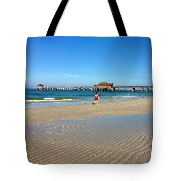 The Naples Pier At Low Tide Tote Bag by Robb Stan