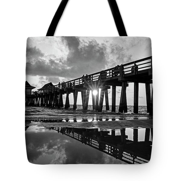 Naples Pier At Sunset Naples Florida Black And White Tote Bag