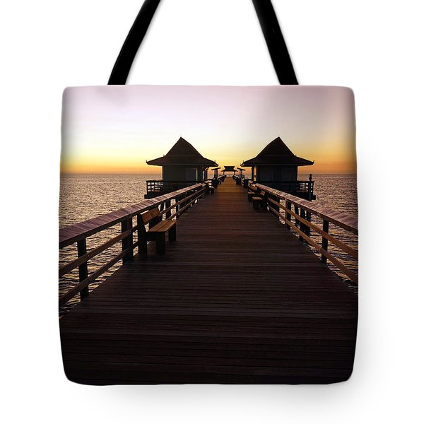 The Naples Pier At Twilight - 01 Tote Bag
