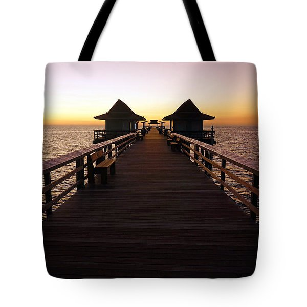 The Naples Pier At Twilight - 01 Tote Bag by Robb Stan