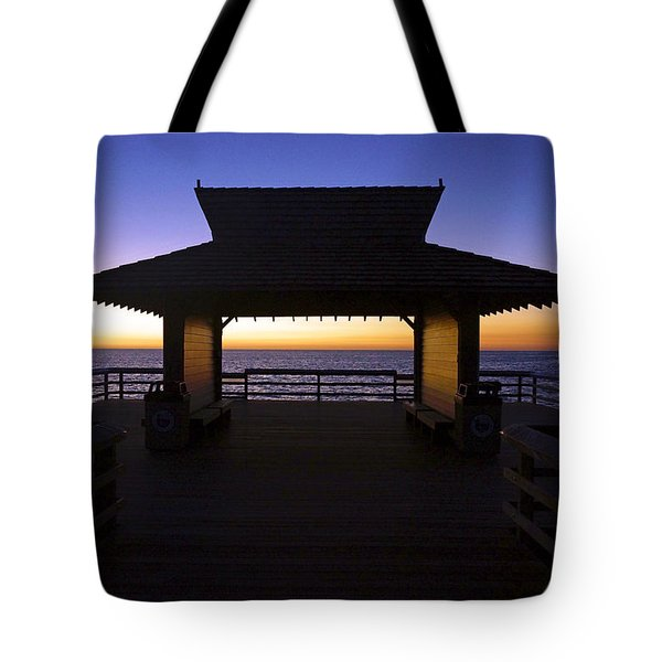 The Naples Pier At Twilight - 02 Tote Bag by Robb Stan