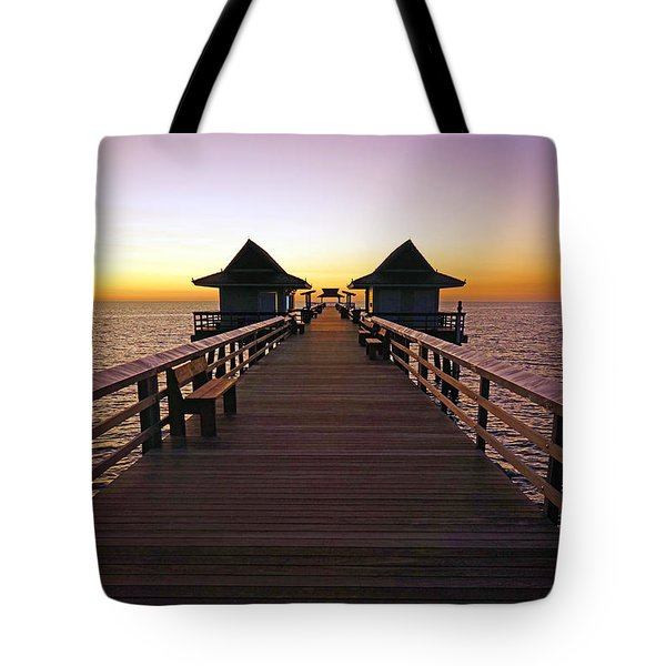 The Naples Pier At Twilight Tote Bag by Robb Stan